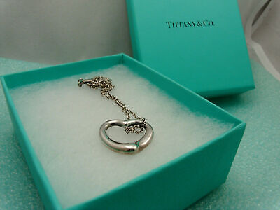 "Tiffany & Co Medium Open Heart Pendant 16"" Necklace Sterling Silver, Pouch & Box"