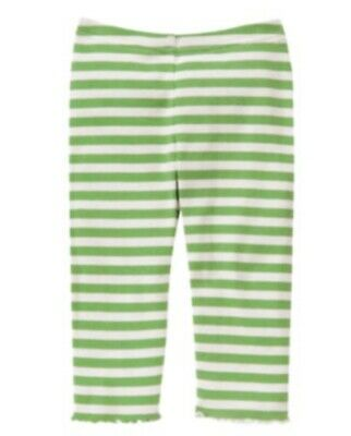 Gymboree Flower Showers Leggings Green & White Striped Girls Size 4 NWT