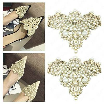 2pcs Pearl Flower Shoe Clip & Rhinestones Iron on Pearl Patch Badge Applique NEW