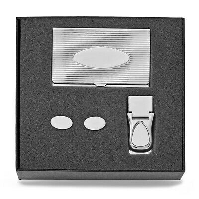 Silver-tone Card Case, Money Clip, and Cuff Links Set Ideal Gift for Christmas