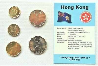 HONG KONG, GROUP of 5 GEM UNCIRCULATED COINS in a see through container.