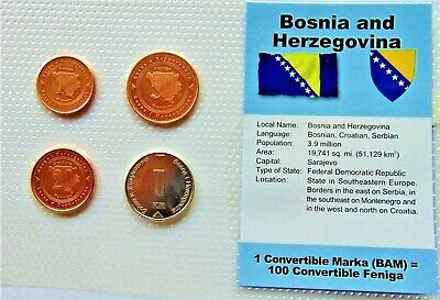 BOSNIA & HERZEGOVINA, GROUP of 4 GEM COINS, , in a see through package.