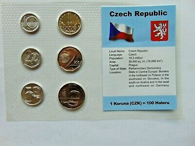 CZECH REPUBLIC, GROUP of 6 GEM COINS, mixed dates, in a see through package.