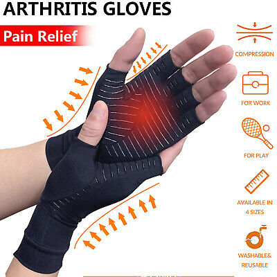 Medical Arthritis Gloves Compression Support Copper Hand Wrist Brace Pain Relief