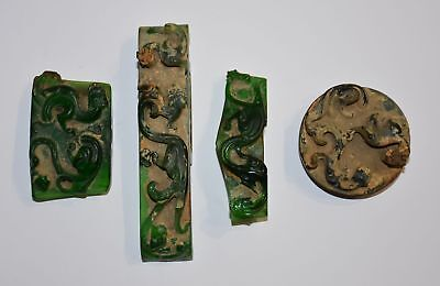 "Rare Chinese Han Dy Old Glass Carved Dragon A set of ""Jian Shi"" Sword Ornament 3"