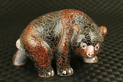 rare Chinese old cloisonne hand painting bear statue figure collectable decorate