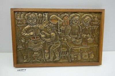 altes Messing Bild Relief Labor Apotheke Laden Deko vintage #193817