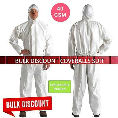 Disposable Coveralls White Boilersuit Hood Painters Protective Overalls Suit