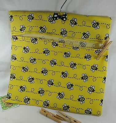 Handmade peg bag laundry pouch yellow bee pattern birthday gift