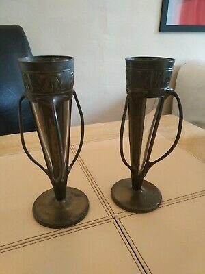 Archibald Knox Art nouveau Liberty & Co Tudric Pewter Vases x2