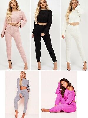LoungeWear Tracksuit Ribbed Knitted Crop Top & Bottom Casual Comfy Womens Ladies