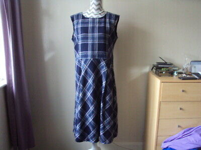 LAURA ASHLEY Ladies Navy Checked Lined Winter Pinafore Dress**Size 16
