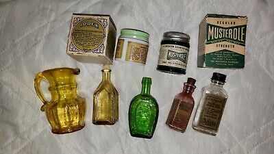 Antique Vintage Glass Bottle Lot Medicine bottles, Kanawha Vase, Tonic bottles