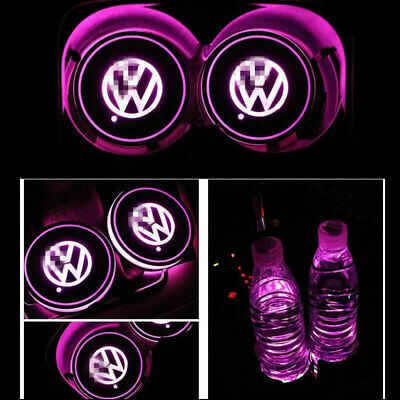 2pcs Colorful Led Car Cup Holder Bottom Pad Mat Auto Atmosphere Fit For VW