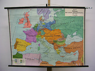 Schulwandkarte Wall Map Card History Europa Nationalstaaten 101x76cm ~ 1959