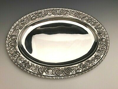 "Repousse by S. Kirk & Son large Oval Platter 19"" x 13.5"", Wide Border, Sterling"