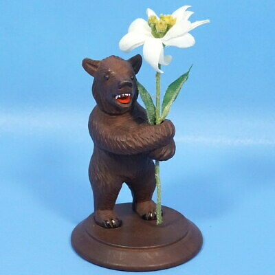 Antique Swiss Black Forest Wood Carving STANDING BEAR w/ FLOWER Brienz c1920