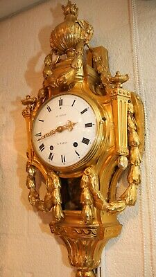 Antique French Cartel Wall Clock Ormolu Gilt Bronze Louis XVI