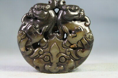 Collectable Auspicious Precious Decor Jade Carved Two Tiger Exquisite Pendants