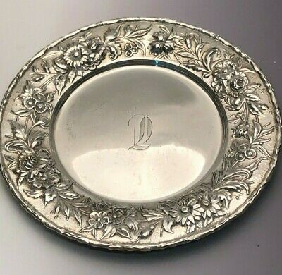 S. Kirk & Son Repousse sterling silver Dish #128, with Monogram, 6 3/8""