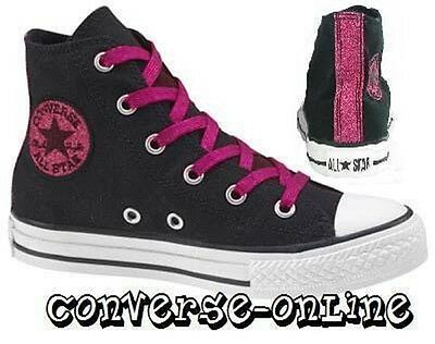 KIDS Girls CONVERSE All Star BLACK PINK GLITTER HI TOP Trainers Boots SIZE UK 10