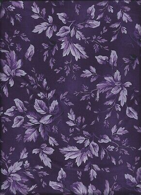 Blackberry Tonal Leaves Aubergine Debbie Beaves Quilt Fabric by the 1//2 yd