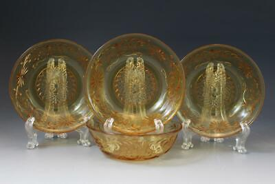 Vintage Indiana Amber Depression Glass Daisy Pattern 4 Berry or Fruit Bowls