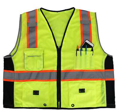 Lime Green Reflective Safety Vest with Pockets