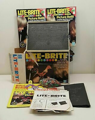 Lite Brite Electric Toy Pegboard Lights Picture Refill Sheets Lot WORKS 5455