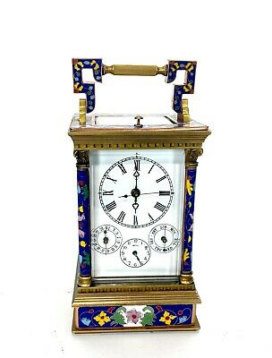 French Style Floral Blue Enamel Brass 8 Day Repeater Calendar Carriage Clock