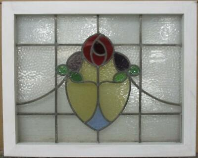 "MIDSIZE OLD ENGLISH LEAD STAINED GLASS WINDOW Gorgeous Mackintosh Rose 27"" x 22"""