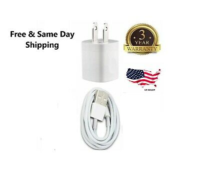 White Home Wall AC Charger for iPhone 7 iPhone X 8  Data Sync USB Cable Cord