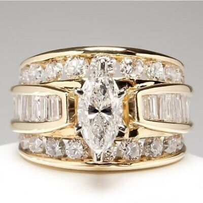 18k Yellow Gold Plated Women Ring White Sapphire Wedding Ring Size 6-10