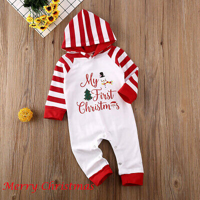 Christmas Cute Newborn Baby Boy Girl Clothes Xmas Hooded Romper Jumpsuit Outfits