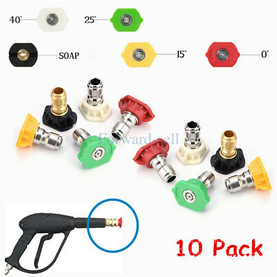 """10Pcs High Pressure Washer Spray Nozzle Tips Quick Connect Variety Degree 1/4"""""""