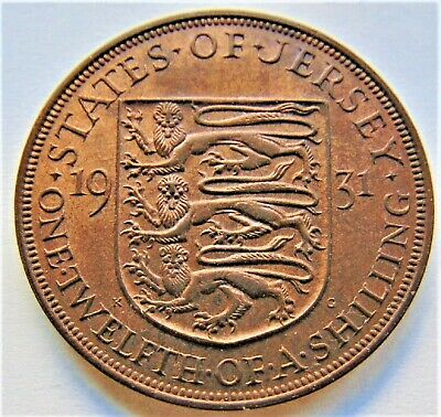 1931 Jersey George V, 1/12 Shilling, Grading About UNCIRCULATED.