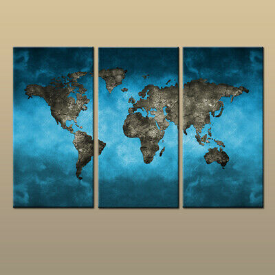 3Pcs Blue World Map HD Picture Canvas Print Painting Modern Art Wall Home Decor