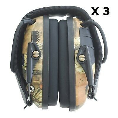 3 x Howard Leight Impact Sport Camo Shoot Range Electronic Earmuffs Protection