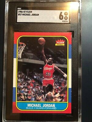 1986-1987 Fleer Michael Jordan Chicago Bulls #57 Basketball Card Graded 6