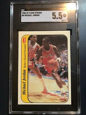 1986 - 1987 Fleer Stickers Michael Jordan Chicago Bulls #8 Card Graded 5.5