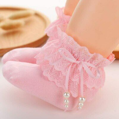 Sweet Baby Girls Socks Princess Lace Ruffle Retro Frilly Pearl Bow Kids Socks