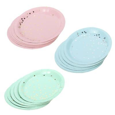 8pcs Disposable Paper Plate Tray Cake Dish Tableware for Barbecue Birthday Party