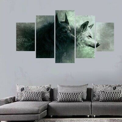 5 Pcs Modern Wolf Art Canvas Painting Oil Picture home Wall Hanging Decor Xmas