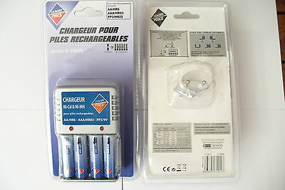 CHARGEUR PILES RECHARGEABLES AA/HR6// AAA/HR03// PP3/HR22 // NEUF !!! a saisir