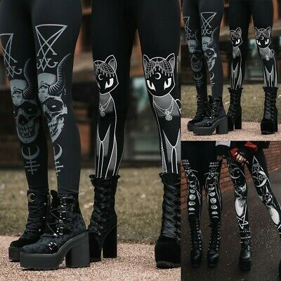 Stylish Women Gothic Style Stretch Skinny Leggings Goth Sneaker Print Pants