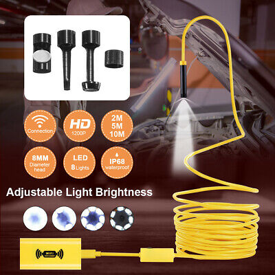 8LED WiFi Endoscope Borescope Inspection 1200P HD Camera IP68 For iOS Android