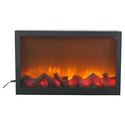 Wall Mountable LED Electric Plug In Flameless Log Fire Effect Fireplace Lantern