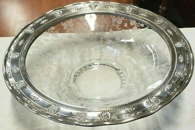 Antique Sterling Silver Wallace Etched Fruit Bowl~Pierced Silver Rim! Rosepoint!