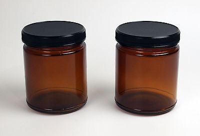 Pair of 9oz Amber Glass Jars Wide mouth,straight walled UV Protection