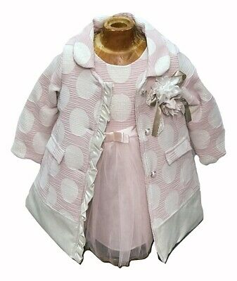 Girls dressing coat with matching dress set pink blue gold 1-6 yrs xmas party